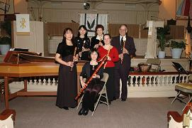 Recorder Ensemble of the Highland Park Recorder Society<br>Sitting: Momo Kusaka<br>Standing, from left to right: Harumi Nakagawa, Sayaka Nishisaka, Donna Messer, Music Director Lynn Gumert, and Russ Condon